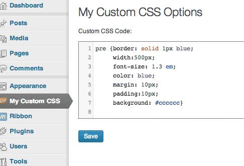 custom css pre code
