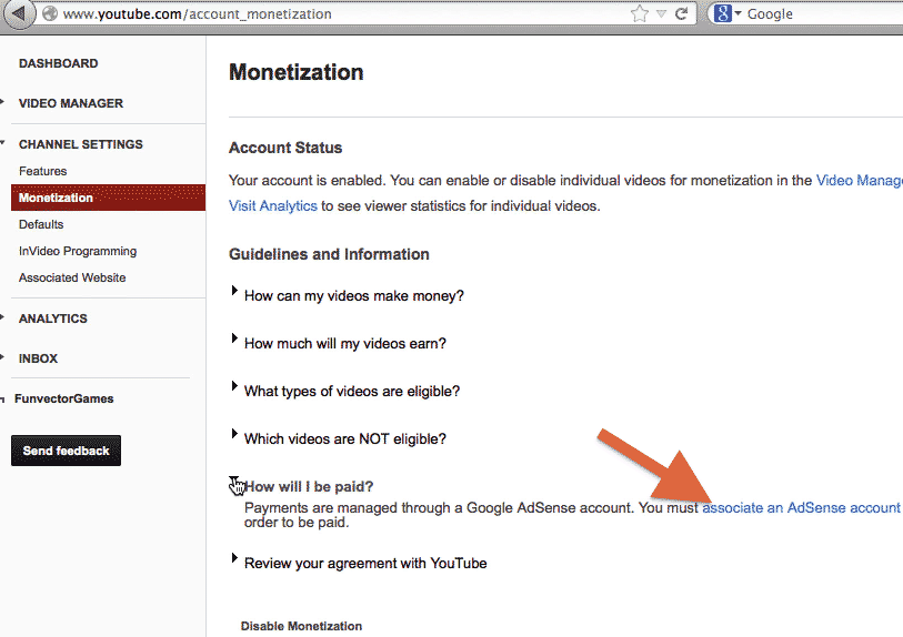 youtube link adsense