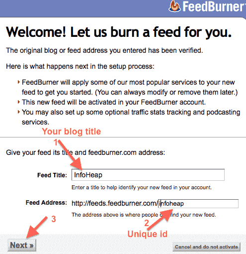 google-feedburner-feed-title-and-address-box