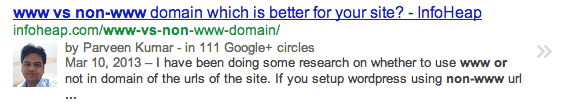 google-verified-author-search-result-example