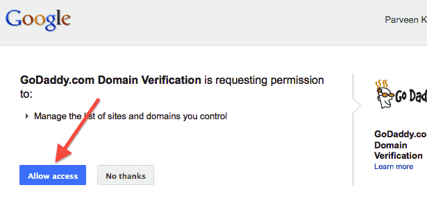 google-webmaster-verify-godaddy-allow-access