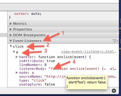 chrome-developer-tools-event-listeners