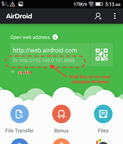 android-airdroid-start-screen-with-url