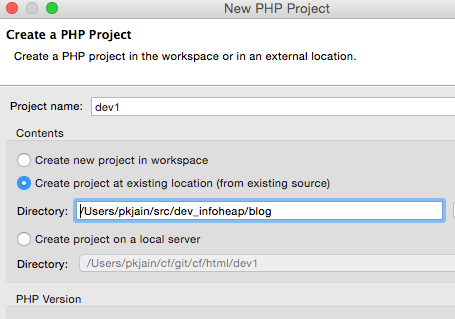 eclipse-new-php-project-from-existing-source