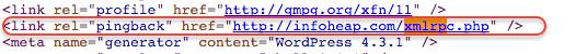 wordpress link rel pingback