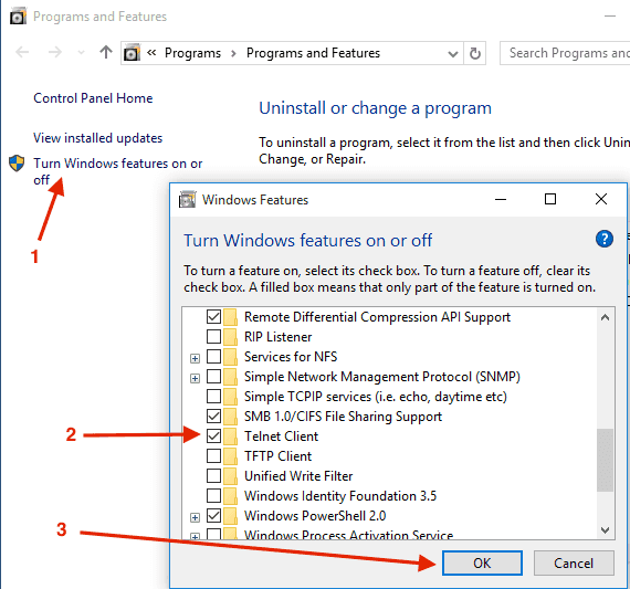 windows-10-turn-windows-features-telnet-on-off