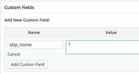 wordpress-skip-home-custom-field